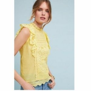 Anthro Maeve Victoria Lace Blouse Canary Flutter